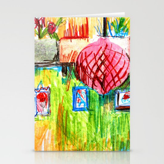 red lamp and shelf Stationery Card