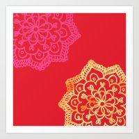 Happy Bright Lace Flower… Art Print