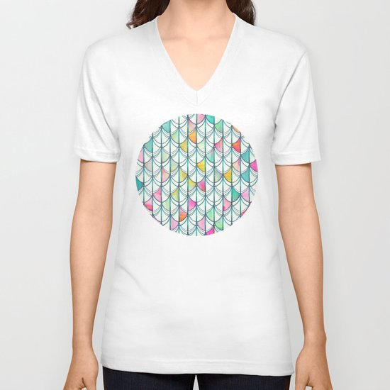 Pencil & Paint Fish Scale Cutout Pattern - white, teal, yellow & pink V-neck T-shirt