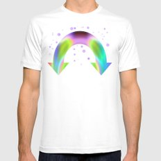 rainbow reactive Mens Fitted Tee SMALL White