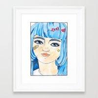 Kawaii Blue Framed Art Print