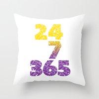 24-7/365 (Purple hustle) Throw Pillow