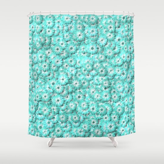 Teal Daisy Flowers Shower Curtain By Giovanni Fontana