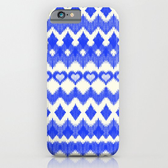 Ikat Pattern in Cobalt Blue & White iPhone & iPod Case by Micklyn