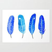 Feathers Of The Blue Nig… Art Print