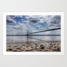 Swans at Humber Bridge Art Print