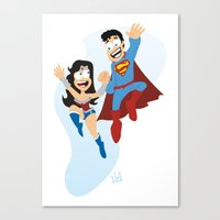 couple dressed as heroes. Canvas Print