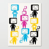 Four Colour Block Heads Canvas Print