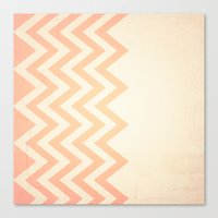 Orange Textured Chevron Canvas Print
