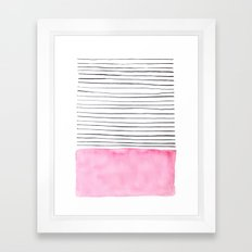 Stripes and pink watercolor Framed Art Print