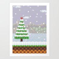 Green Hill Christmas Art Print
