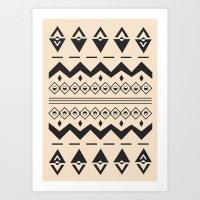 Peach Aztec Art Print