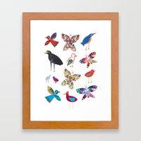 Birds and Butterflies  Framed Art Print