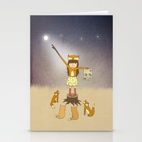 Little Fox Girl Stationery Cards