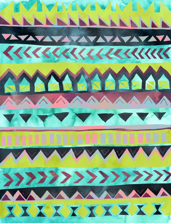 PATTERN {Tribal Stripe - Green} Art Print