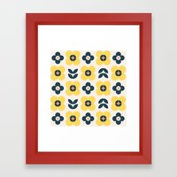 Vintage Geometric Flower… Framed Art Print