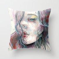 Sleepy violet, watercolor Throw Pillow