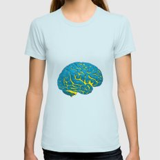 Brain of a Superhero - W0nder W0man Womens Fitted Tee Light Blue SMALL