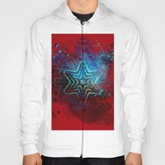 Glowing abstract blue star on blood red Hoody