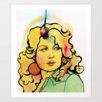 Dolly With Croissant Hai… Art Print