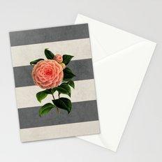 botanical stripes - camellia Stationery Cards