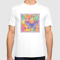 Indigo Butterfly Mens Fitted Tee White SMALL