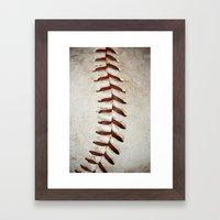 Vintage Baseball Stitching Framed Art Print