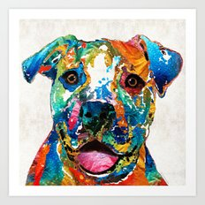 Colorful Dog Pit Bull Art - Happy - By Sharon Cummings Art Print