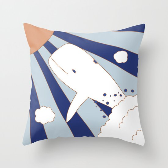 Flying Whale Throw Pillow