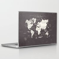 map Laptop & iPad Skins featuring The World Map by Mike Koubou