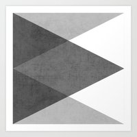 triangle Art Prints featuring black and white triangles by her art