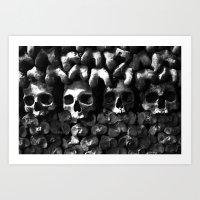 Skulls - Paris Catacombs, black and white version Art Print