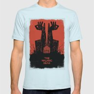 The Walking Dead. Mens Fitted Tee Light Blue SMALL