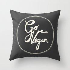 Go Vegan Grey Throw Pillow