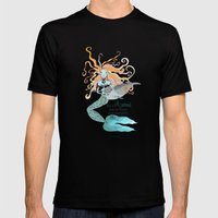 THE MERMAID Mens Fitted Tee Black SMALL