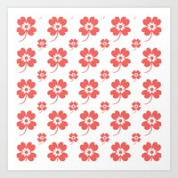 lucky flower coral Art Print