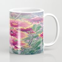 Multi Coloured Flowers with Bee Mug
