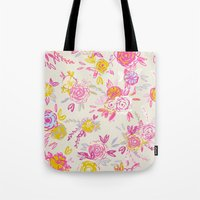 Flower garden in pink and yellow Tote Bag