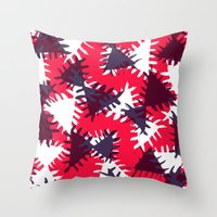 Triangle painted and digital pattern Throw Pillow