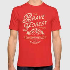BRAVE FOREST Mens Fitted Tee Red SMALL