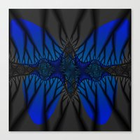 Blue fractal Butterfly Canvas Print