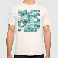 Turquoise and grey Mens Fitted Tee Natural SMALL