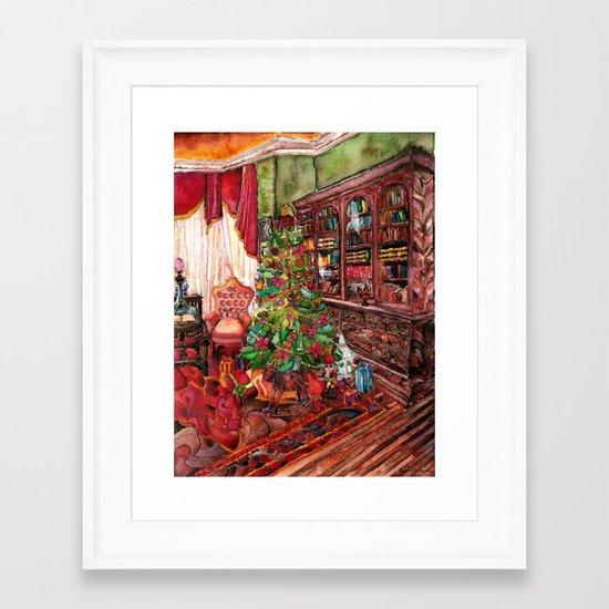 Bibliophile's Christmas Framed Art Print