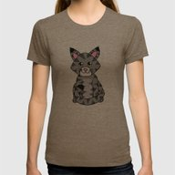 Little Cat Womens Fitted Tee Tri-Coffee SMALL