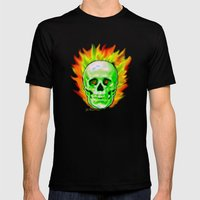 Flaming Skull Mens Fitted Tee Black SMALL