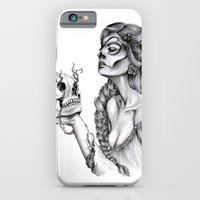 sugar skull iPhone & iPod Cases featuring Sugar Skull by April Alayne