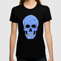 Blue Skull Womens Fitted Tee Black SMALL