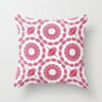 Ruby Mandala Tile Throw Pillow