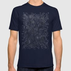 3D Ornaments, Soft Blue Mens Fitted Tee Navy SMALL