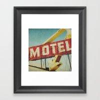 Thrashed Motel Sign Framed Art Print